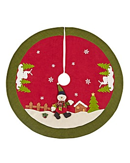 Snow Man Fabric Tree Skirt