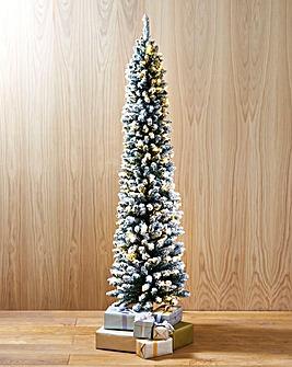 Prelit Flocked & Glitter Tip Pencil Tree