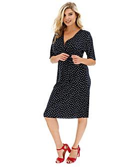 Spot Plisse Wrap Dress