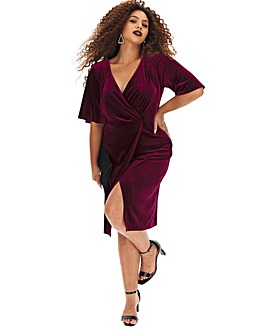 Angel Sleeve Velour Wrap Dress