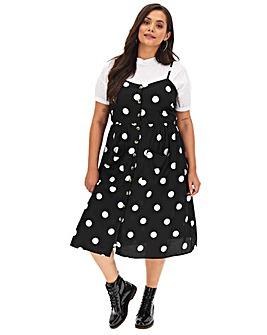 Mono Spot Button Through Dress