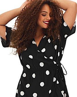Mono Spot Wrap Dress