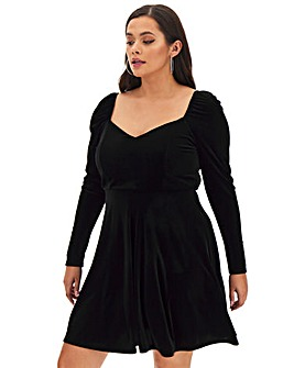 Sweetheart Neck Velour Skater Dress