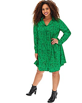Green Print Swing Shirt Dress