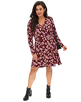 Daisy Print Wrap Skater Dress