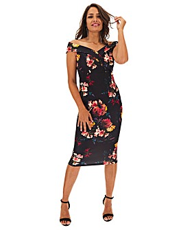 Floral Bardot Scuba Bodycon Dress