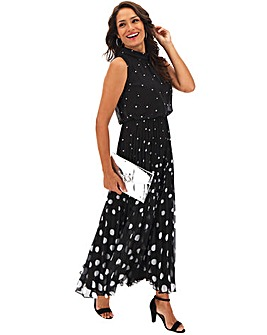 Black Polka Dot Pleat Maxi Dress