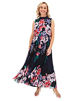 Navy Floral Pleat Sleeveless Maxi Dress