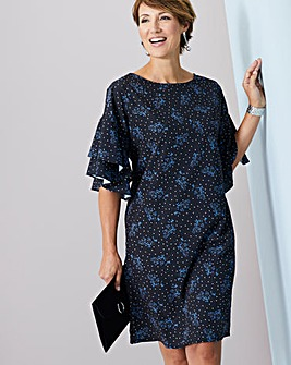 Spot Ditsy Blue Floral Fluted Sleeve Shift Dress