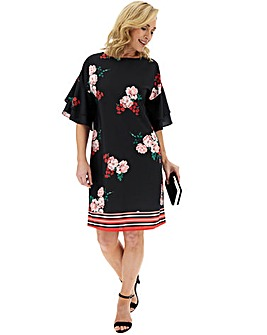 Floral Border Fluted Sleeve Shift Dress