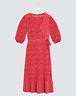Red Spot Jersey Wrap Midi Dress