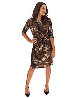 Animal Print Twist Knot Midi Dress