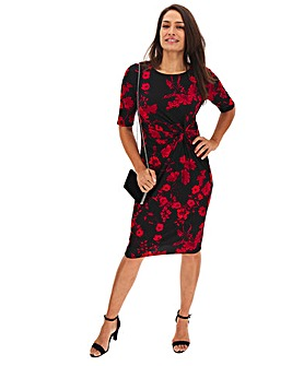 Red Floral Twist Knot Midi Dress