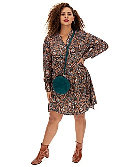 Folk Print Swing Shirt Dress