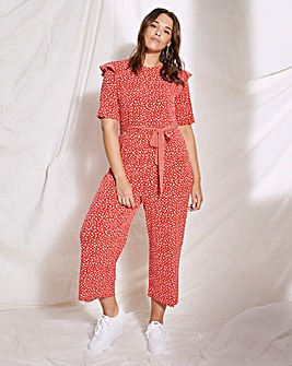 Red Spot Jersey Wide Leg Jumpsuit