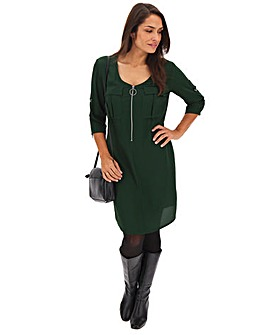Khaki Zip Front Dress