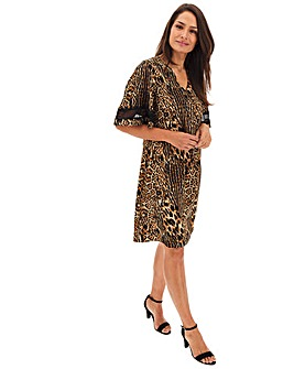 Animal Print V-Neck Shift Dress
