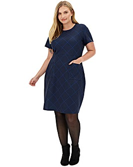 Navy Ponte Pocket Shift Dress