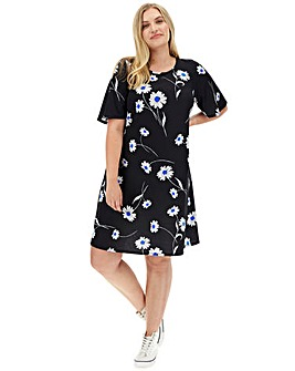 Daisy Print Short Sleeve Swing Dress