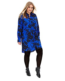 Blue Floral Tie Waist Shirt Dress