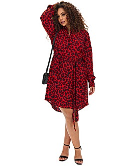 Red Animal Print Tie Waist Shirt Dress