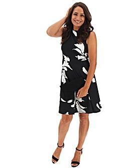 Mono Floral Print Skater Dress