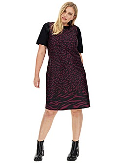 Animal Border Print Ponte Shift Dress