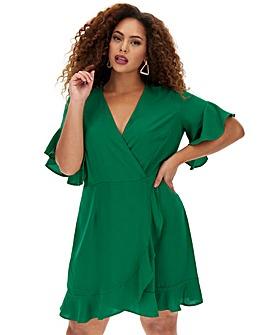 Green Ruffle Wrap Dress