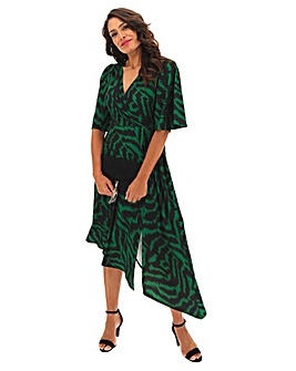Green Zebra Print Asymmetric Wrap Dress