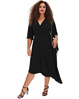 Black Asymmetric Hem Wrap Dress