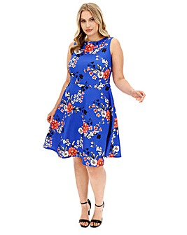 Cobalt Floral Skater Dress