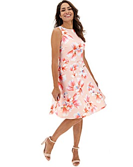 Pink Floral Skater Dress
