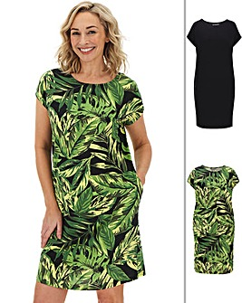 Palm Print Pack of Two T-Shirt Dresses