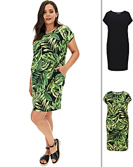 2 Pack Palm Print T-Shirt Dresses
