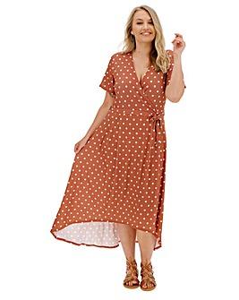 Brown Spot Dipped Back Wrap Dress