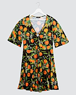 Orange Print O Ring Skater Dress