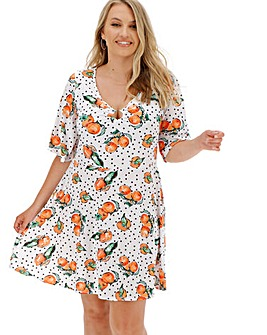 Fruit Print O Ring Skater Dress