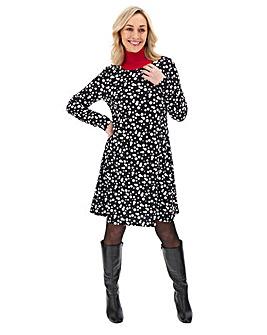 Long Sleeve Spot Print Swing Dress