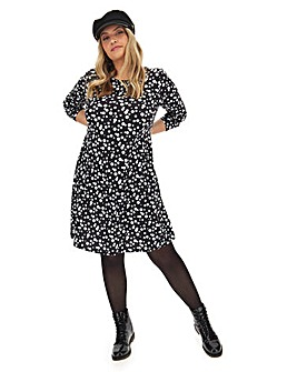 Long Sleeve Spot Print Swing Dress