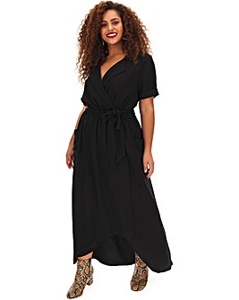 Black Hi Lo Hem Utility Dress