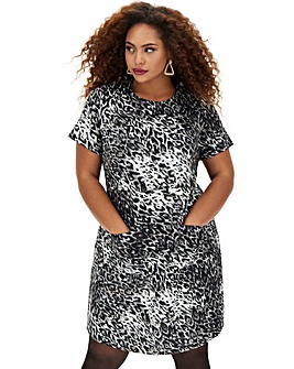 Leopard Ponte Pocket Shift Dress