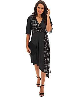 Polka Dot Asymmetric Hem Wrap Dress