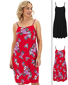 2 Pack Red Floral/Black Cami Dress