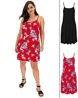 Tropical/Blue Pack of Two Cami Dress