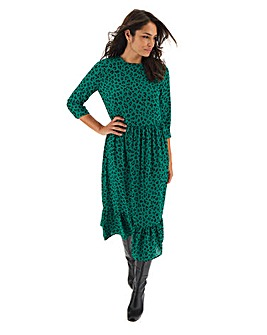 Green Leopard Print Tiered Midi Dress