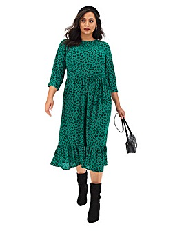 Green Leopard Print Tiered Midi Dress