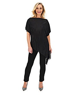 Black Plisse Asymmetric Top