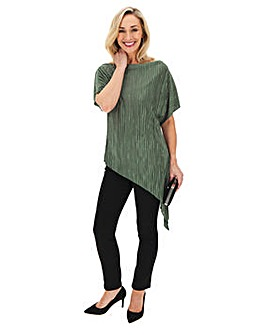 Khaki Plisse Asymmetric Top