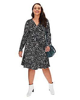 Mono Animal Wrap Skater Dress