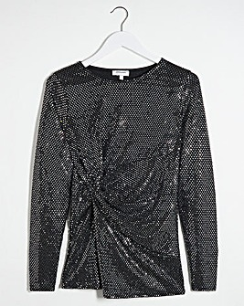 Silver Twist Front Long Sleeve Top